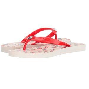 Coach Flip Flop Red Vintage Style Floral & White
